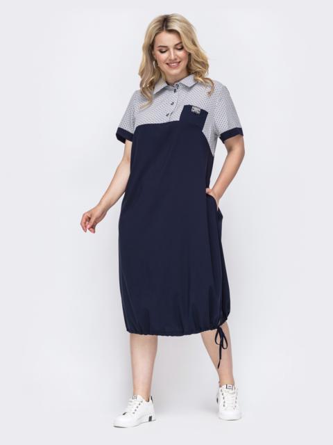 Летнее платье батал прямого кроя темно-синее 49894, фото 1