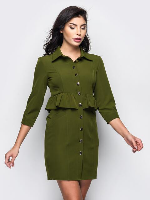 Платье-рубашка с оборкой на поясе зелёное - 13552, фото 1 – интернет-магазин Dressa