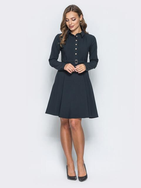Платье с расклешенной юбкой и кнопками черное - 14660, фото 1 – интернет-магазин Dressa