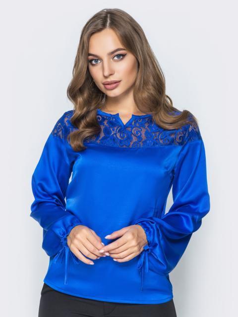 Шелковая блузка цвета электрик с кружевной кокеткой - 14085, фото 2 – интернет-магазин Dressa
