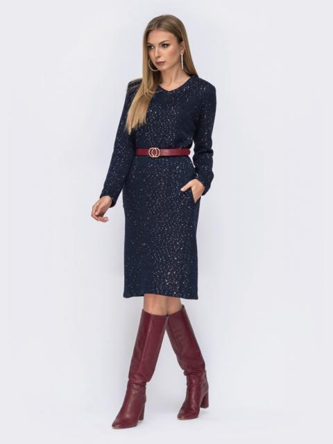 Тёмно-синее платье из вязаного трикотажа с россыпью золотых пайеток 42361, фото 1
