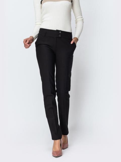 Тёплые брюки чёрного цвета на флисе - 42355, фото 1 – интернет-магазин Dressa