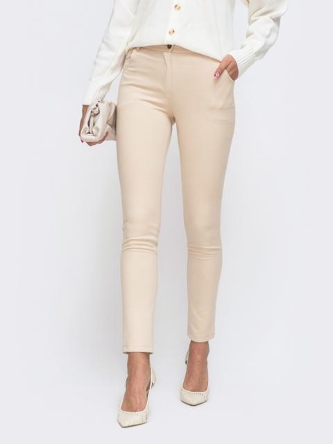 Зауженные брюки из замши со стандартной посадкой бежевые 50065, фото 1