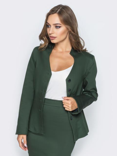 Жакет приталенного кроя с подкладкой зелёный - 14434, фото 1 – интернет-магазин Dressa