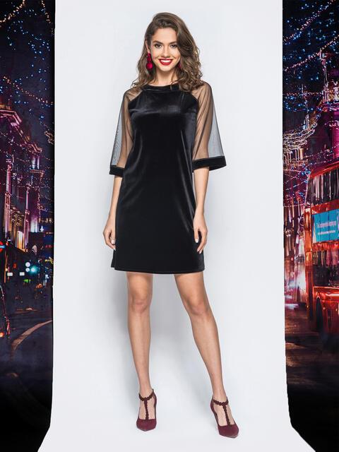 Бархатное платье черного цвета с фатиновыми рукавами - 17974, фото 1 – интернет-магазин Dressa