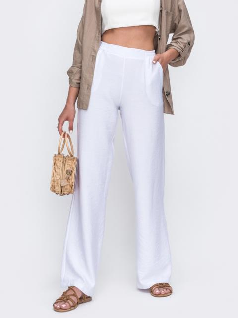Белые брюки-клеш с завышенной талией 49569, фото 1