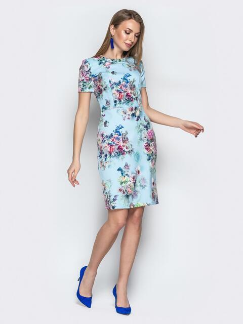 e3ed9595201 Голубое платье-футляр с цветочным принтом 20962 – купить в Киеве ...