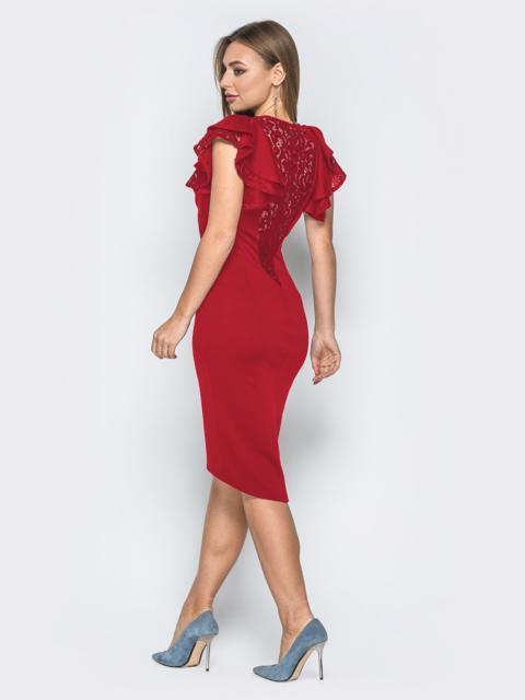 Красное платье с воланами на рукавах и вырезом по спинке 42307, фото 1