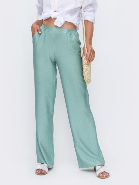Мятные брюки-клеш с высокой посадкой 49568, фото 1