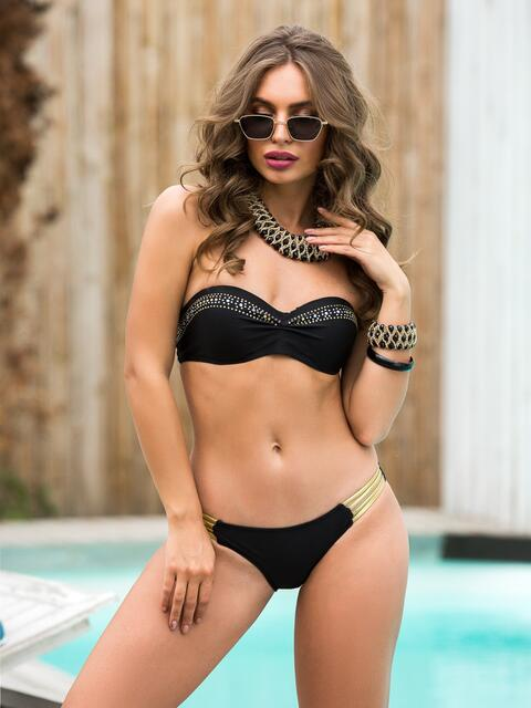 Открытый купальник-бандо со стразами по лифу чёрный - 39170, фото 1 – интернет-магазин Dressa