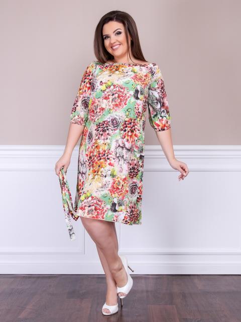 Приталенное платье батал с цветочным принтом бежевое - 47612, фото 1 – интернет-магазин Dressa
