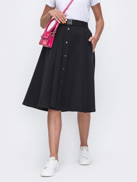 Расклешенная юбка-миди с карманами чёрная 49394, фото 1
