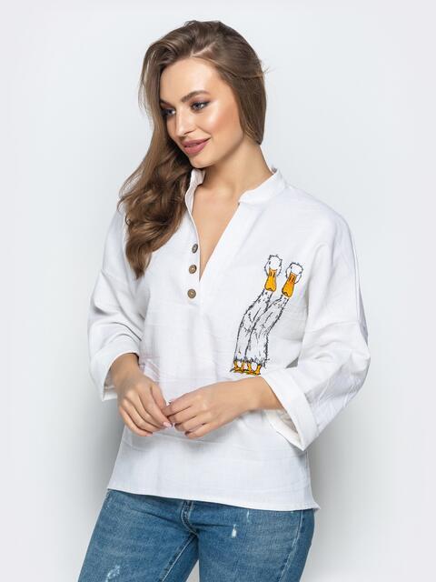 """Рубашка прямого кроя с вышивкой """"гуси"""" белая - 21933, фото 1 – интернет-магазин Dressa"""