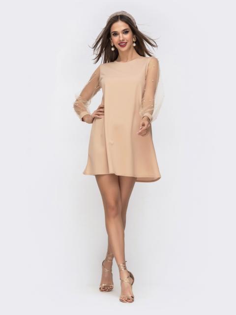 Бежевое платье-трапеция с фатиновыми рукавами и жемчужинами 42895, фото 1