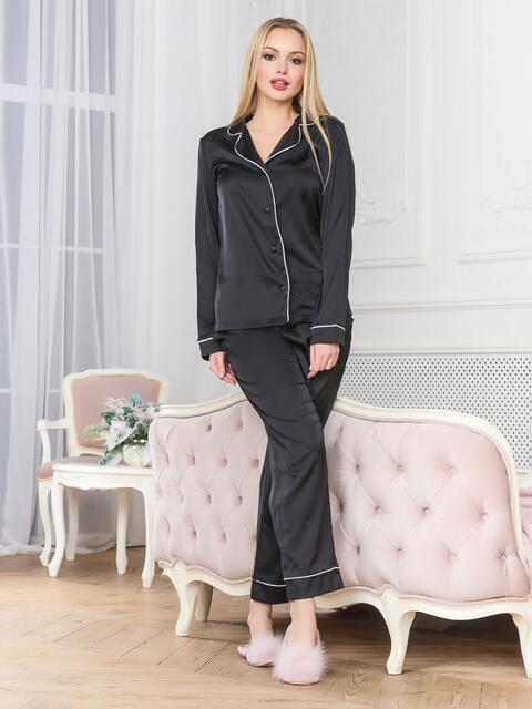 Черная пижама с окантовкой на рубашке и брюках - 18943, фото 1 – интернет-магазин Dressa