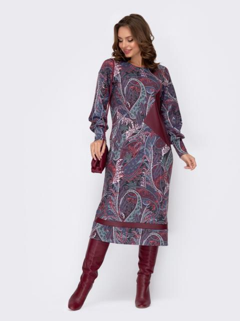 Фиолетовое платье прямого кроя с принтом 52335, фото 1