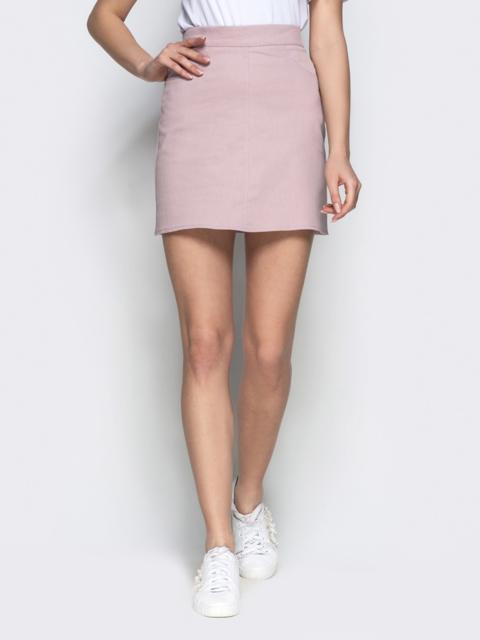Коттоновая юбка-мини пудрового цвета - 22046, фото 1 – интернет-магазин Dressa
