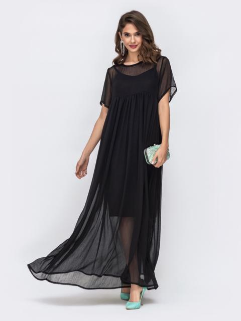 Платье чёрного цвета из шифона с завышенной талией 42669, фото 1