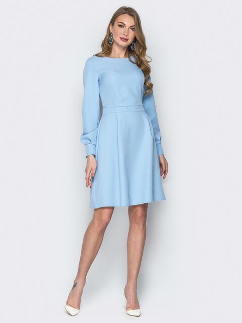 Платье из костюмной ткани с потайной молнией светло-голубое - 20024, фото 1 – интернет-магазин Dressa