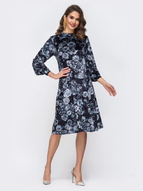 Платье трапеция с флористическим принтом и воротником-стойкой тёмно-синее - 42639, фото 1 – интернет-магазин Dressa