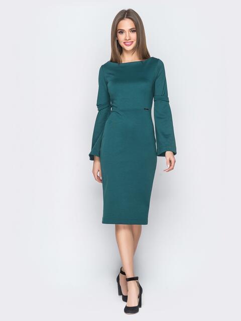 Платье зелёного цвета с расклешенными рукавами - 17969, фото 1 – интернет-магазин Dressa