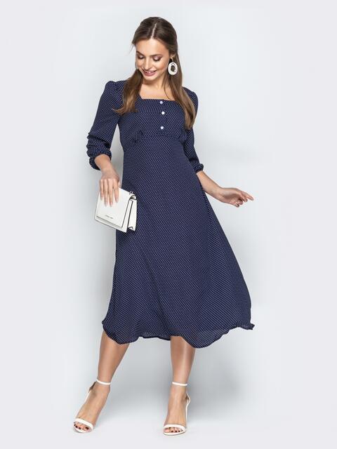 Темно-синее платье в горох с квадратным вырезом и пуговицами - 21031, фото 1 – интернет-магазин Dressa