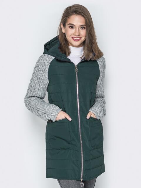 Зелёная куртка с вязаными рукавами и вшитым капюшоном - 20715, фото 1 – интернет-магазин Dressa