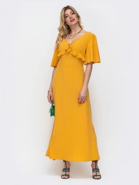 Желтое платье-макси с оборками на лифе 48489, фото 1