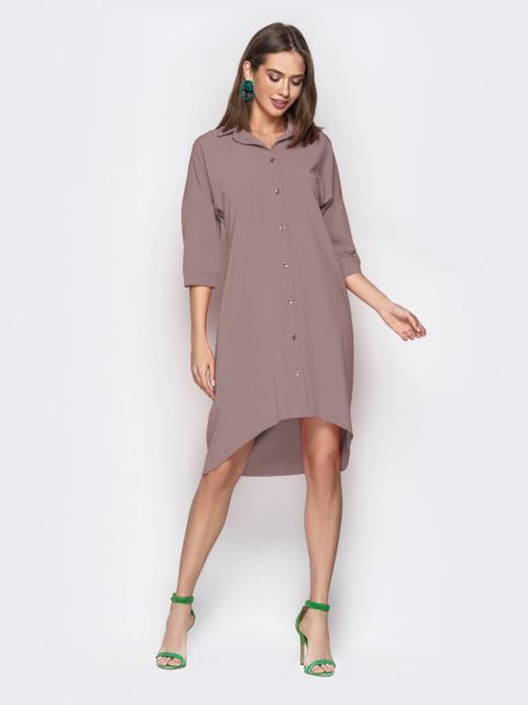 Бежевое платье-рубашка с удлиненной спинкой 49649, фото 1