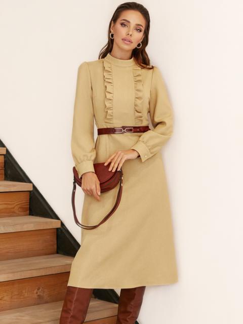 Бежевое платье с оборками на полочке и юбкой-трапецией 53076, фото 1