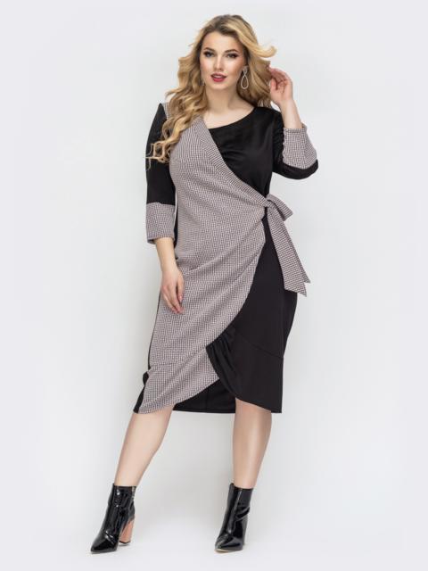 Чёрное платье большого размера с принтом - 44475, фото 1 – интернет-магазин Dressa