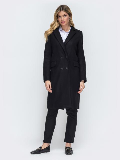 Двубортное пальто с карманами на полочке чёрное 45450, фото 1