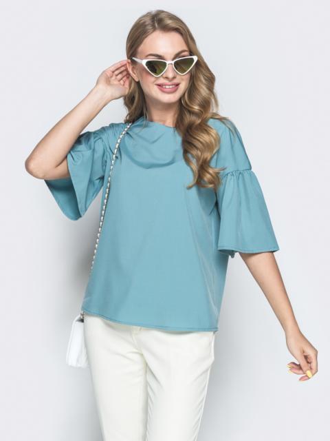 """Голубая блузка прямого кроя с рукавом """"колокол"""" - 38519, фото 1 – интернет-магазин Dressa"""