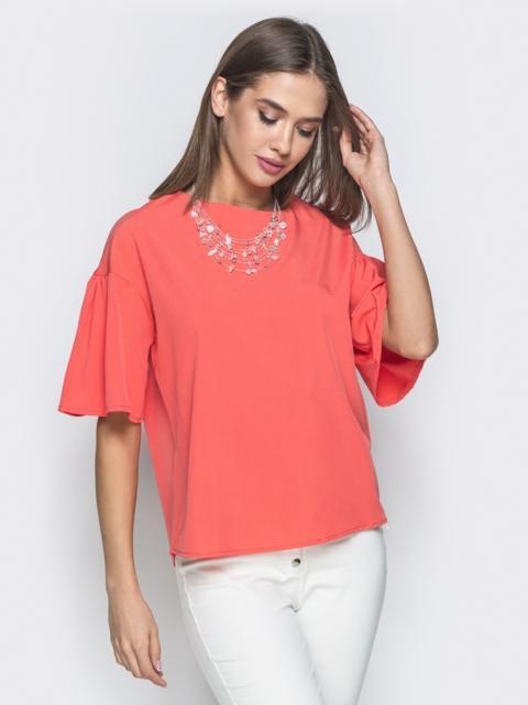 """Коралловая блузка прямого кроя с рукавом """"колокол"""" - 38520, фото 1 – интернет-магазин Dressa"""