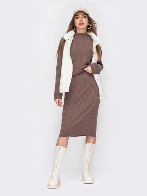 Коричневый костюм из трикотажа с юбкой-миди и кофтой 53043, фото 1