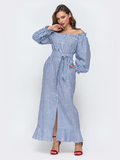 Платье-макси в полоску с открытыми плечами синее 46823, фото 1