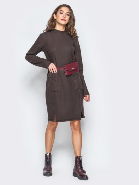 Платье со швами наизнанку и карманами на полочке - 17469, фото 1 – интернет-магазин Dressa