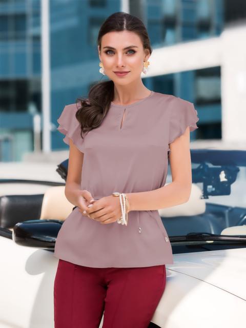 """Шелковая блузка бежевого цвета с рукавом """"крылышко"""" 49650, фото 1"""