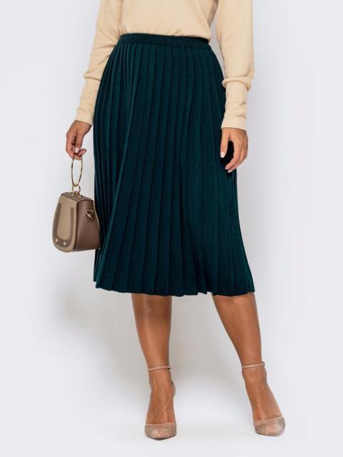 Вязаная юбка-плиссе тёмно-зеленого цвета 41190, фото 1