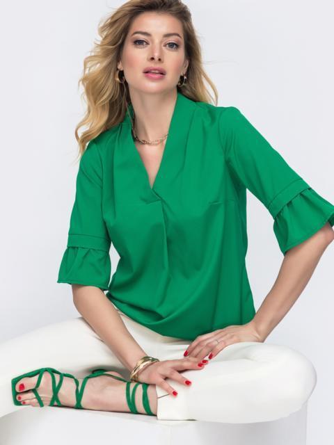 Зелёная блузка прямого кроя с воланами на рукавах 48419, фото 1
