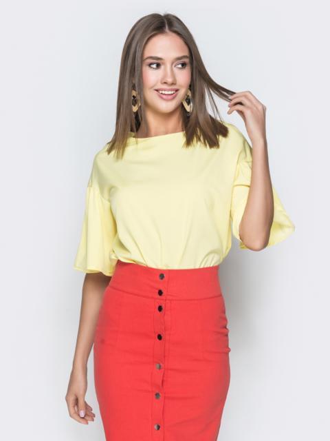 """Желтая блузка прямого кроя с рукавом """"колокол"""" - 38521, фото 1 – интернет-магазин Dressa"""