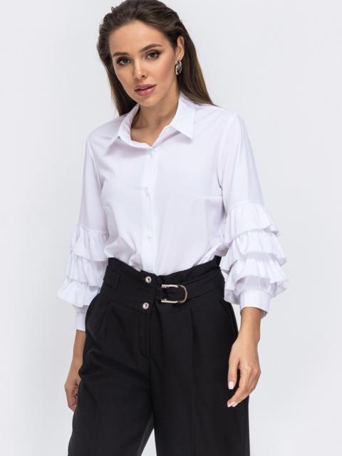 Белая блузка с воланами на рукавах 50849, фото 1