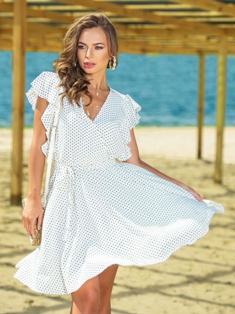 Белое платье из софта в горох с запахом - 38954, фото 1 – интернет-магазин Dressa