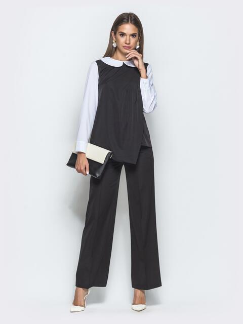 Брючный комплект чёрного цвета с блузкой - 39988, фото 1 – интернет-магазин Dressa