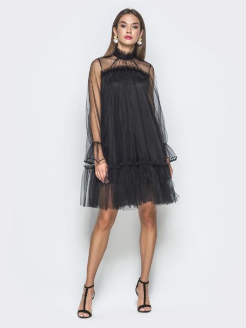 Чёрное платье-трапеция из фатина с воланом по низу - 40120, фото 1 – интернет-магазин Dressa
