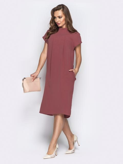 Льняное платье oversize с карманами пудровое - 20854, фото 1 – интернет-магазин Dressa