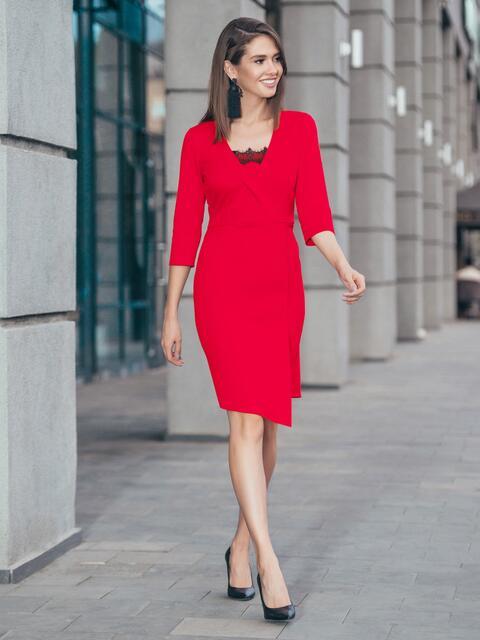 Платье красного цвета с ложным запахом и кружевом на полочке - 17107, фото 1 – интернет-магазин Dressa