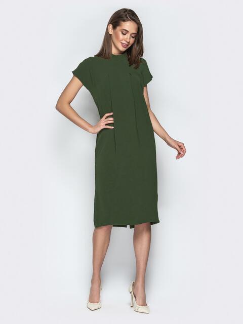 Платье oversize с карманами хаки - 20855, фото 1 – интернет-магазин Dressa
