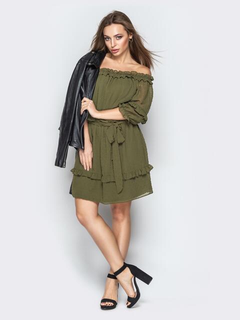 """Платье с вырезом """"анжелика"""" и объемным рукавом хаки - 21103, фото 1 – интернет-магазин Dressa"""
