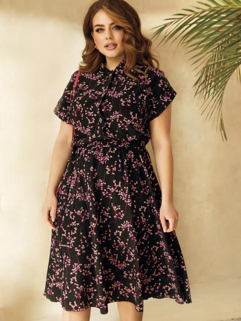 Принтованное платье из софта на пуговицах до пояса 53833, фото 1